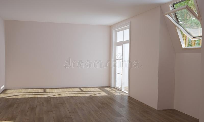 Interior of kitchen and living room before finishing royalty free stock photo
