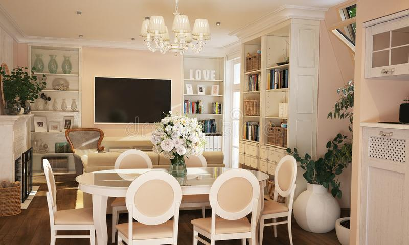 Interior of kitchen and living room in Provence style with white furniture stock images