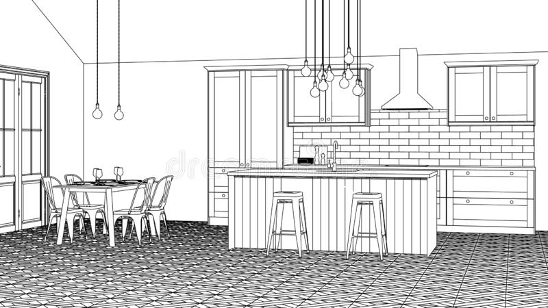 The interior of the kitchen in a private house. Linear sketch of the interior. royalty free illustration