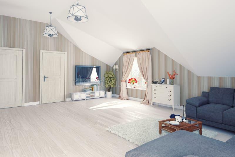 Interior l attic stock illustration