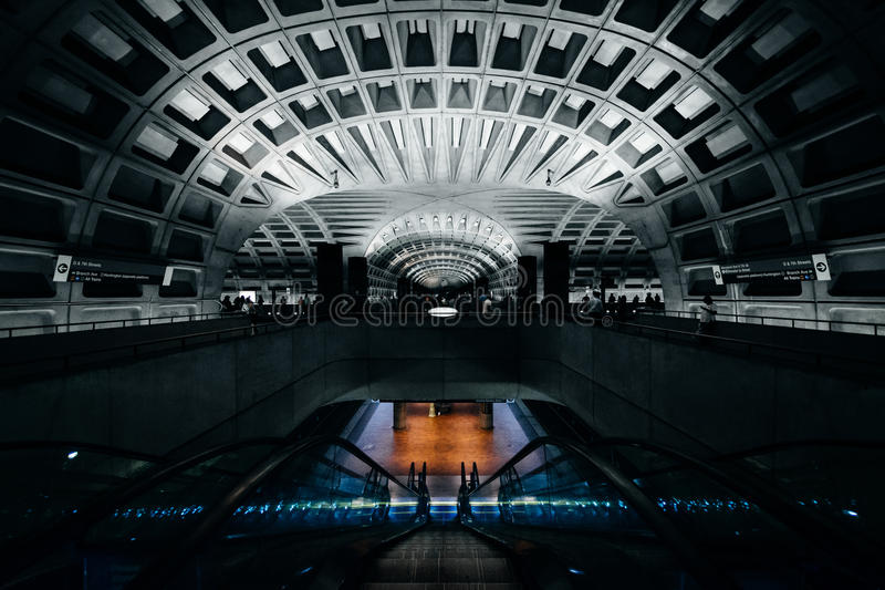 The interior of the L'Enfant Plaza Metro Station, in Washington,. DC stock images