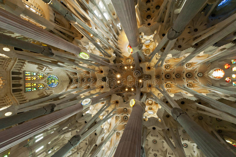 Interior Of La Sagrada Familia Editorial Photography