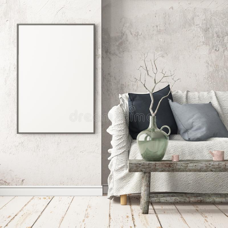 Mock up poster in the interior in the style of a lag with a chair. Scandinavian style. 3D rendering royalty free illustration