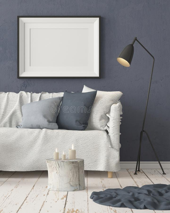 Mock up poster in the interior in the style of a lag with a chair. Scandinavian style. 3D rendering vector illustration