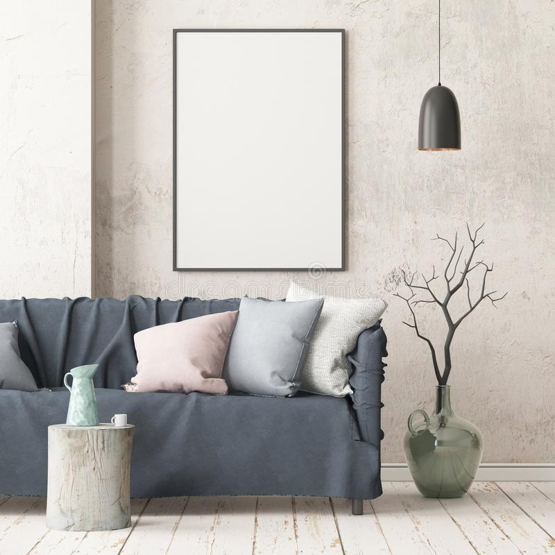 Mock up poster in the interior in the style of a lag with a chair. Scandinavian style. 3D rendering stock illustration