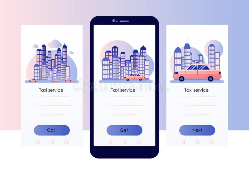 Taxi service. Screen template for mobile smart phone. Background the city with skyscrapers. stock illustration