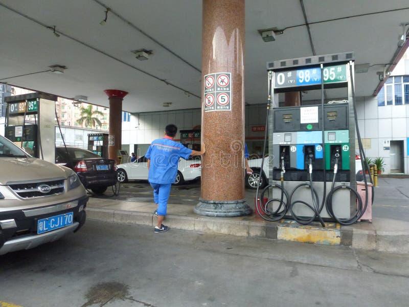 Interior landscape of automobile gas station stock photos