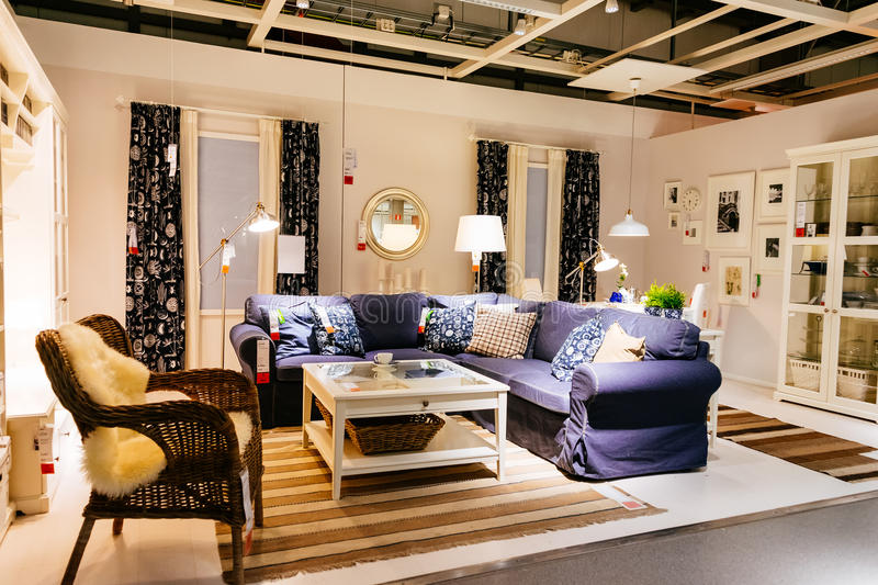 Interior Of Large IKEA Store With A Wide Range Of Products In Malmo ...