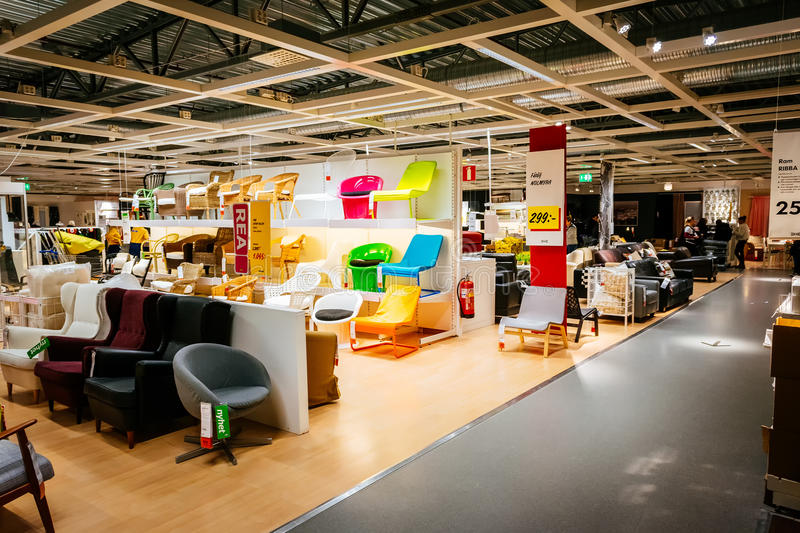 Interior Of Large IKEA Store With A Wide Range Of Products ...