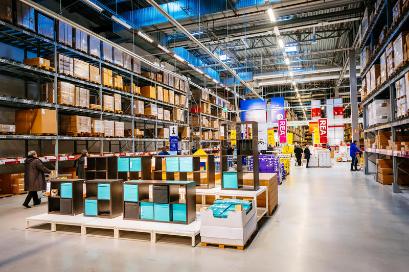 interior of large ikea storehouse with a wide range of products in malmo sweden editorial photo. Black Bedroom Furniture Sets. Home Design Ideas