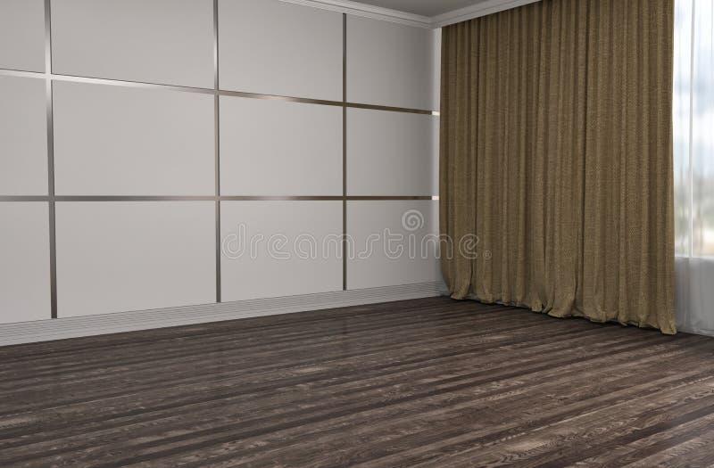 Interior with large window. 3d illustration royalty free illustration