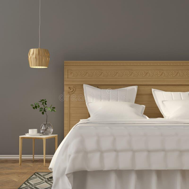 Interior lassic do quarto do ¡ de Ð com mobília de madeira ilustração royalty free