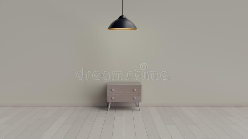 Interior, leather cabinet in white room. 3d rendering in Blender 3d stock photo