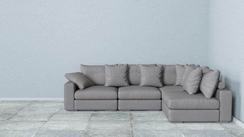 Interior, leather sofa in white room. 3d rendering in Blender 3d royalty free stock photos