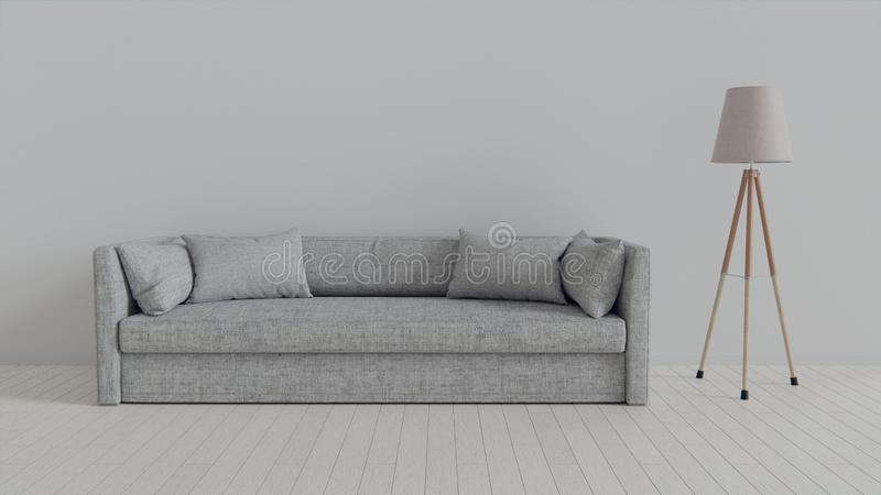 Interior, leather sofa in white room. 3d rendering in Blender 3d royalty free stock photo