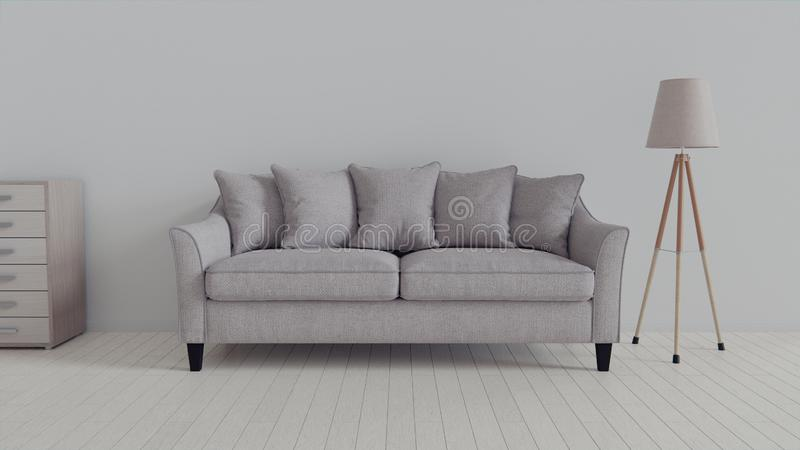 Interior, leather sofa in white room. 3d rendering in Blender 3d royalty free stock photography