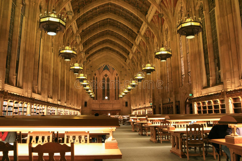 Interior of Library. SEATTLE, USA - NOVEMBER 28, 2007: Interior of Suzzallo Library at the University of Washington in Seattle as seen inside the Graduate stock photos