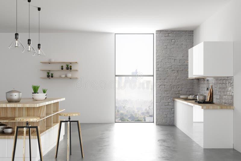 Interior ligero contemporáneo de la cocina ilustración del vector