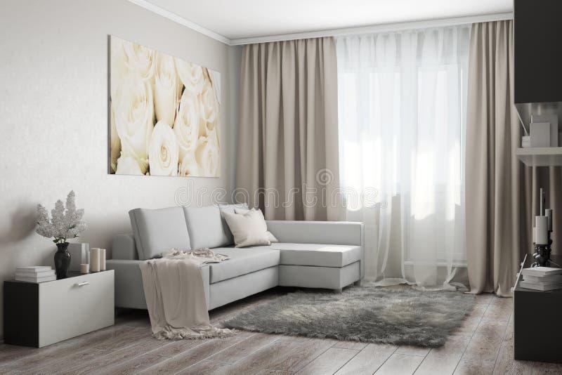 Interior in light colors. 3d illustration. Cozy modern living room in light sand colors royalty free illustration