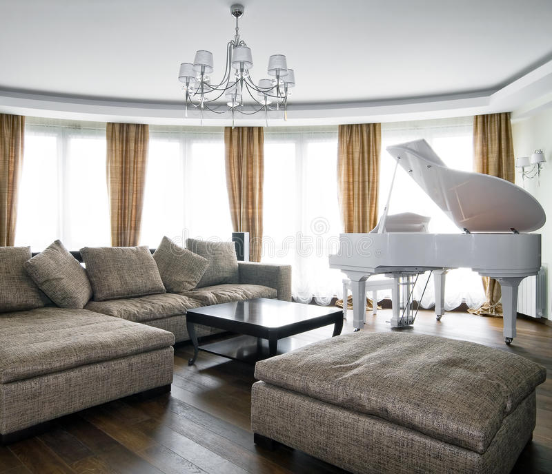 Interior Of Light Living Room With White Piano Stock Image