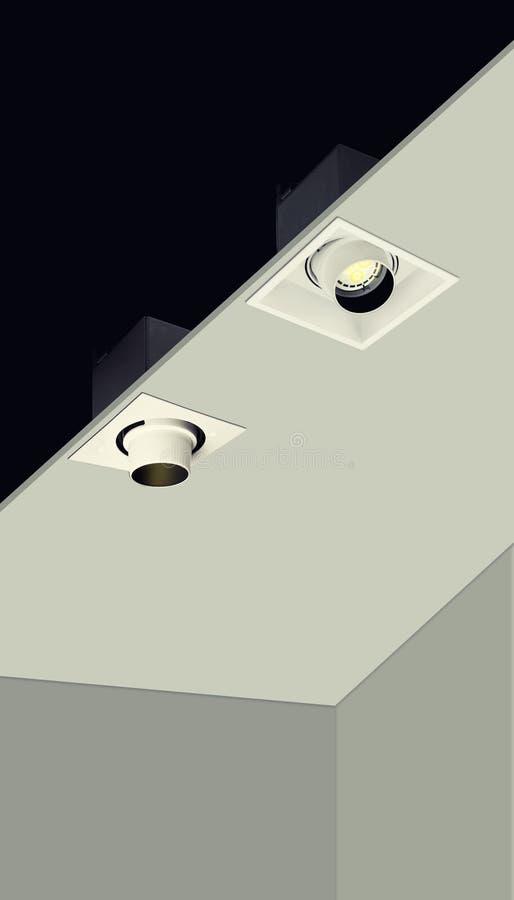Interior lighting downlight application stock photo