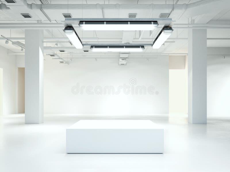 Interior limpio moderno de la galería del desván representación 3d imagen de archivo