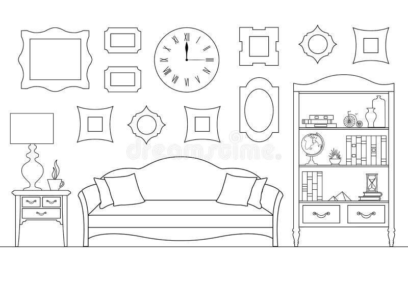 Interior linear con un sofá, un estante para libros Ejemplo del vector en estilo del esquema Sala de estar ilustración del vector