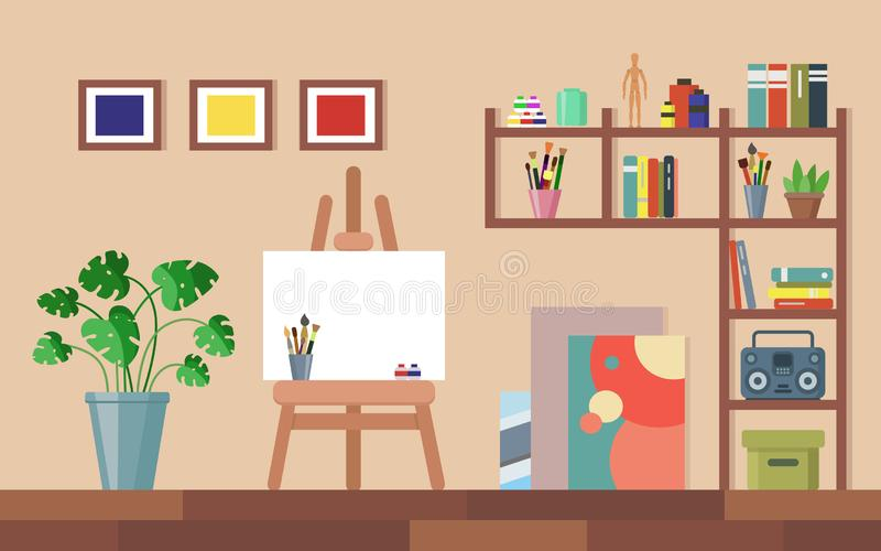 Interior liso do estúdio da arte Sala da oficina dos artistas ilustração royalty free