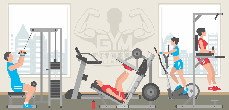 Interior liso do gym ilustração royalty free