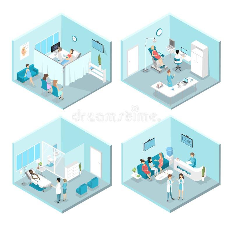 Interior liso isométrico de salas de hospital da ginecologia ilustração royalty free