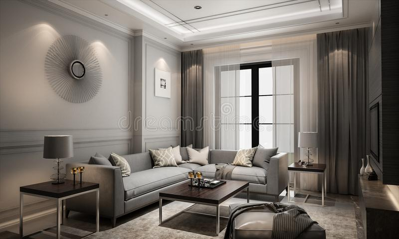Interior living modern classic style, 3D rendering, 3D illustration royalty free illustration