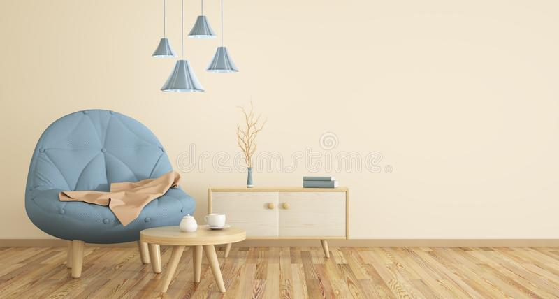 Interior of living room with armchair 3d rendering. Interior of living room with armchair, coffee table and cabinet, 3d rendering royalty free illustration