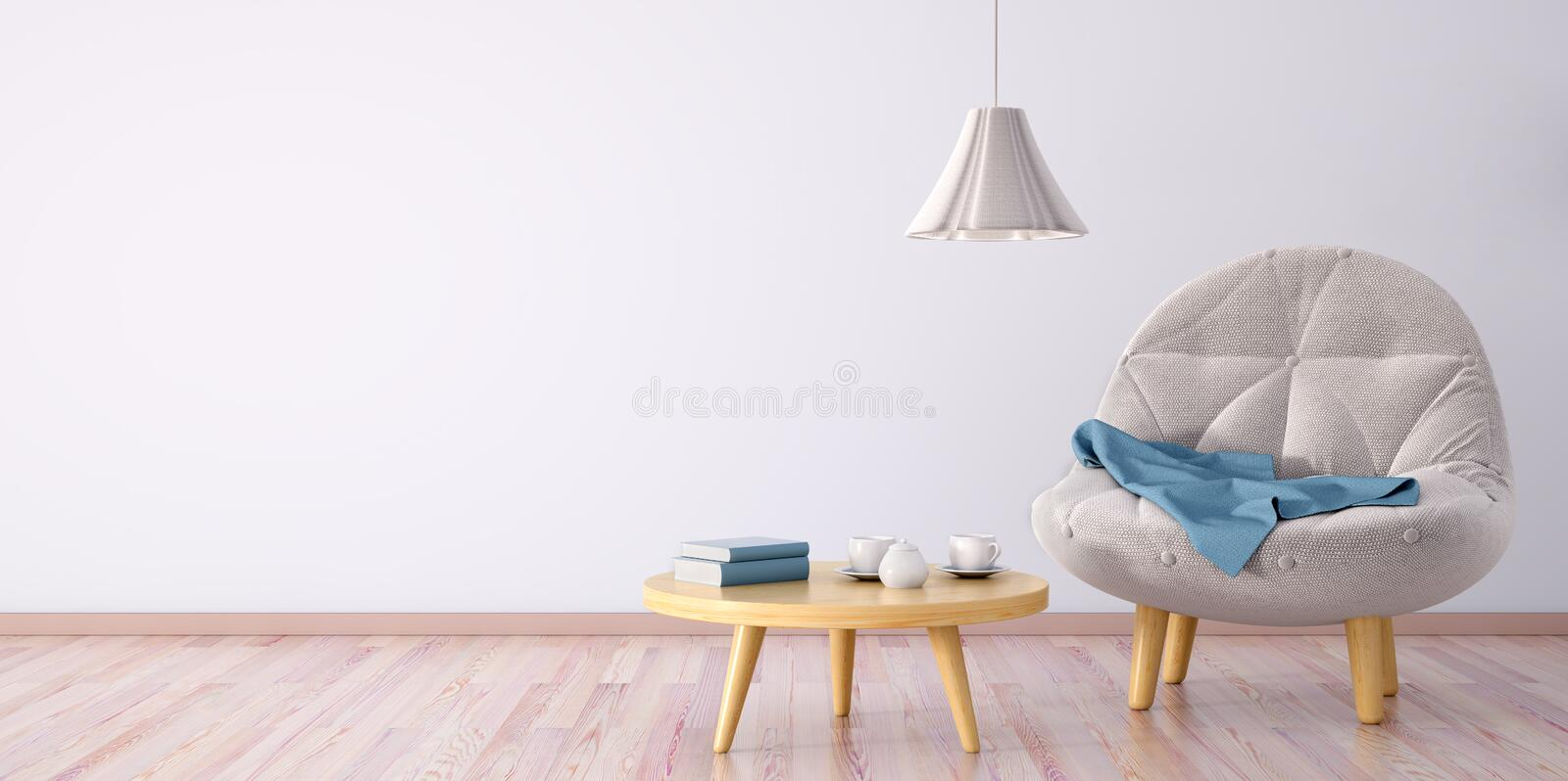 Interior of living room with armchair 3d rendering. Interior of living room with armchair, coffee table and lamp, 3d rendering stock illustration