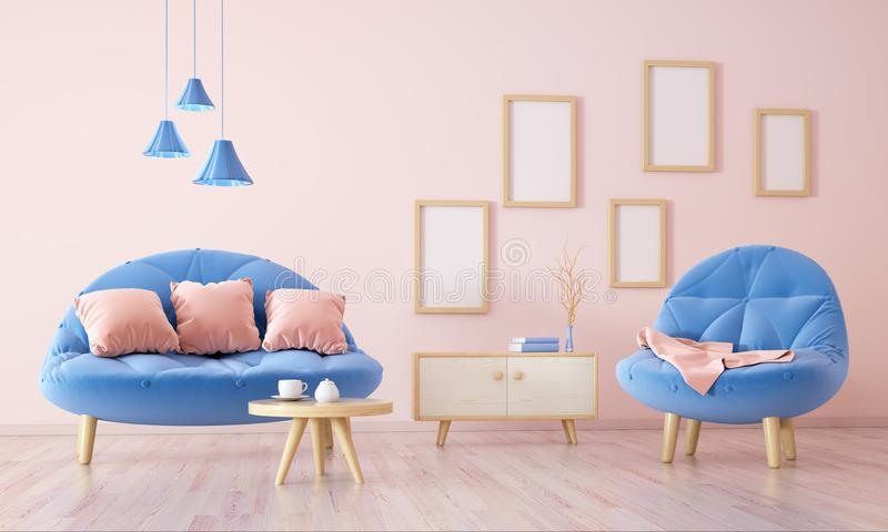 Interior of living room with armchair 3d rendering. Interior design of modern living room with sofa, coffee table and cabinet, 3d rendering vector illustration