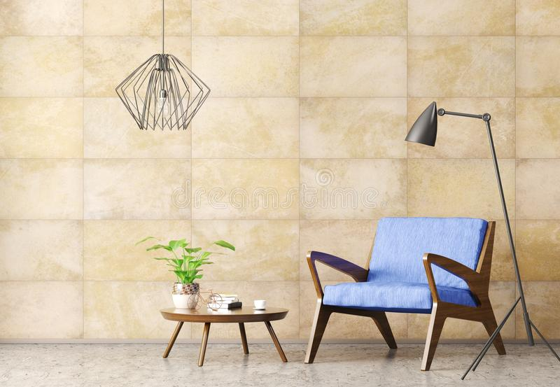 Interior of living room with armchair 3d rendering vector illustration