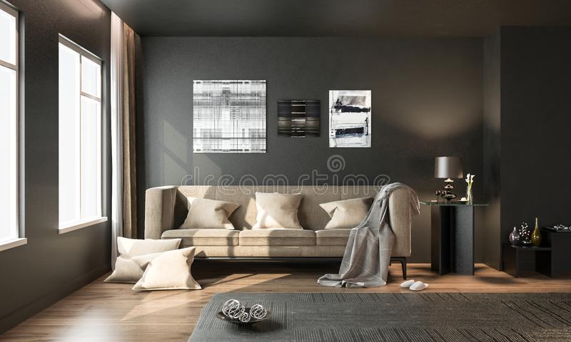 Interior living room, black modern style, with brown loose sofa, on hardwood floor, studio mock-up, 3D rendering, 3D illustration vector illustration