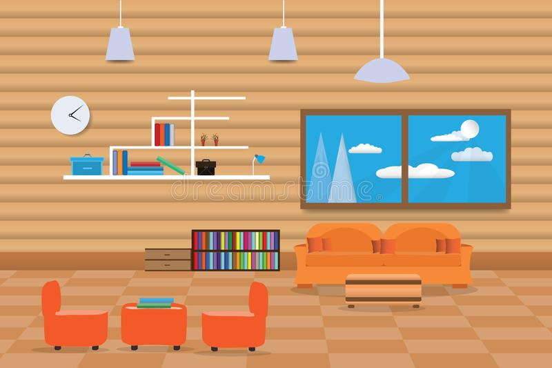sofa bookshelf background and wall design window living with relax room orange illustration download interior in