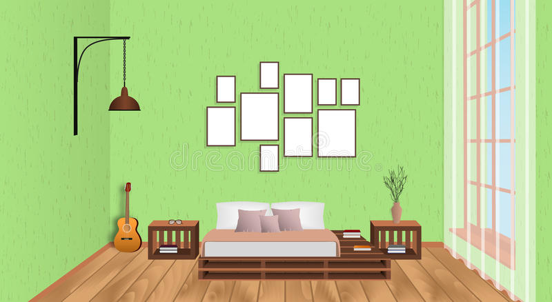 Interior of living room with empty frames, guitar, wood flooring and window. Loft design concept in hipster style. stock illustration
