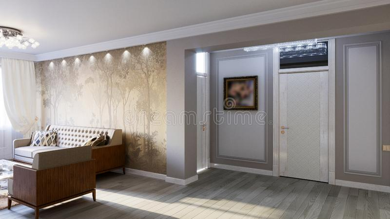 Interior of the living room in gray tones 3D illustration stock photos