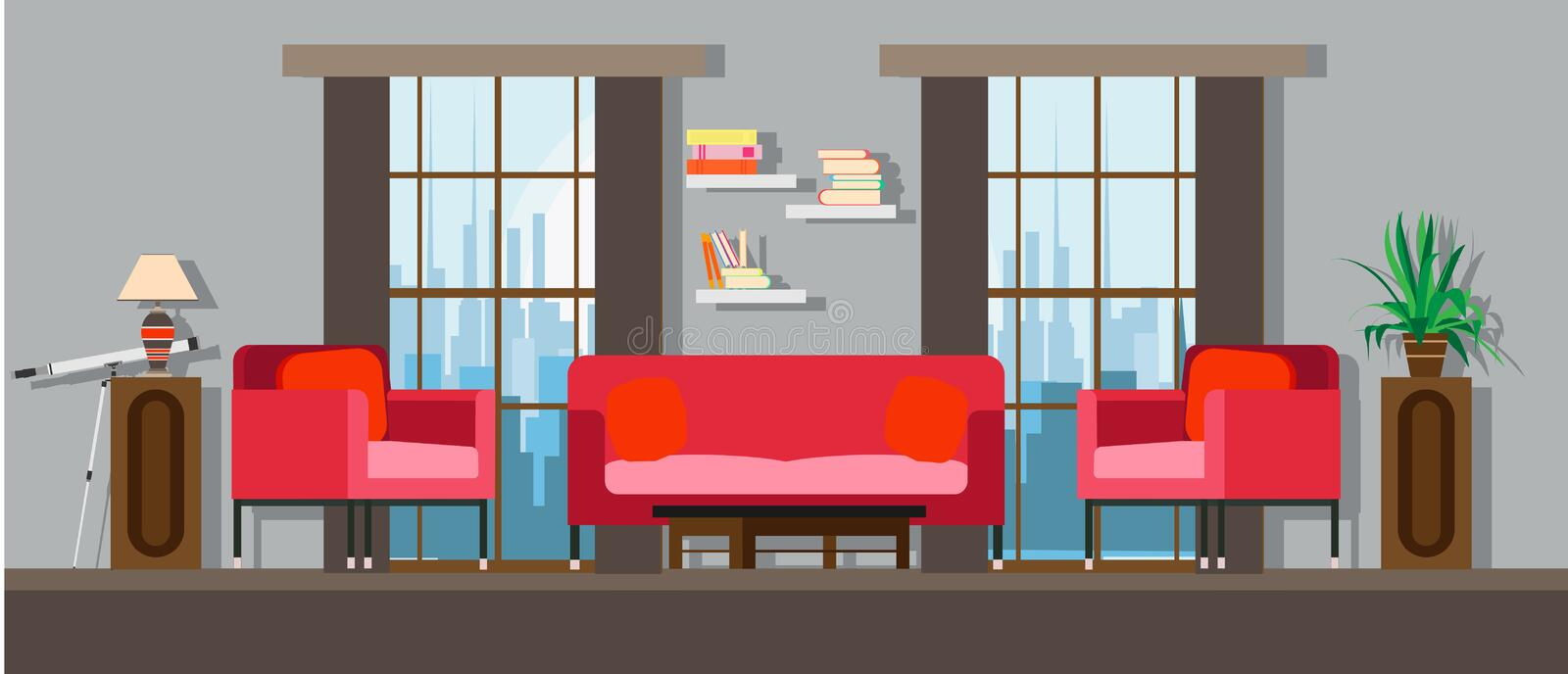 Interior living room home furniture design. Modern house apartment sofa vector. Flat bright window, table, wall decor. Illustratio. N floor concept lamp, plant royalty free illustration