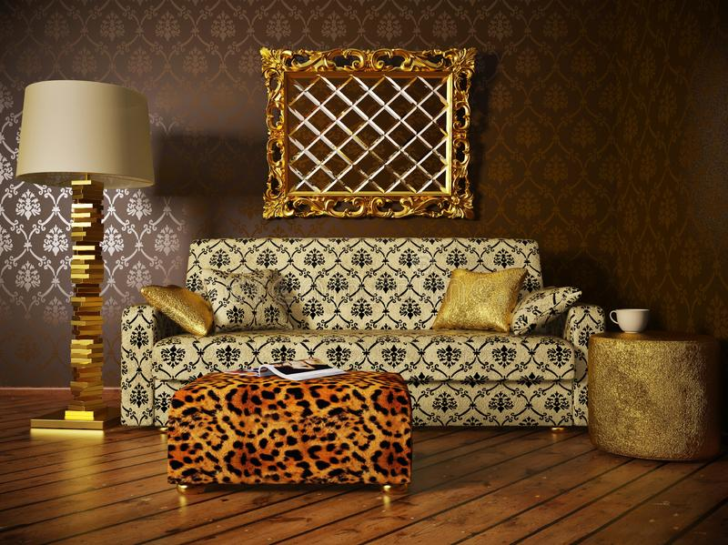 Interior of the living room leopard table sofa with print.  vector illustration