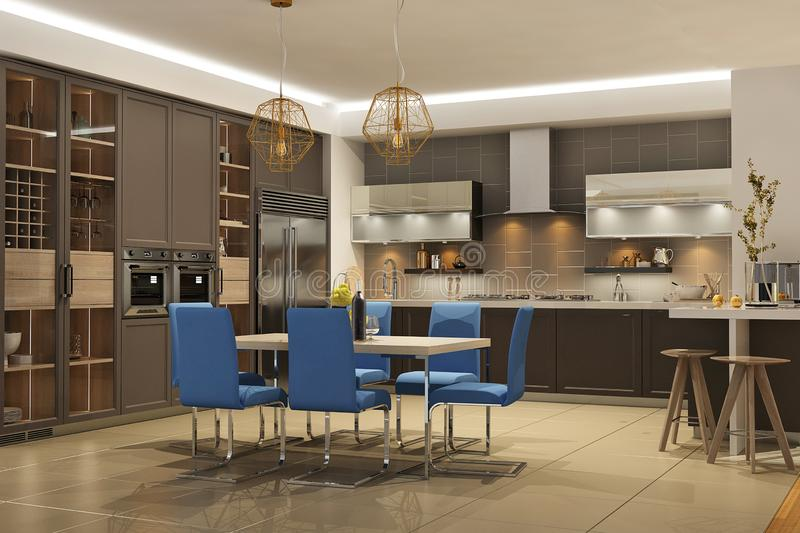Modern style interior of living room with the kitchen in brown colors with blue sofa vector illustration