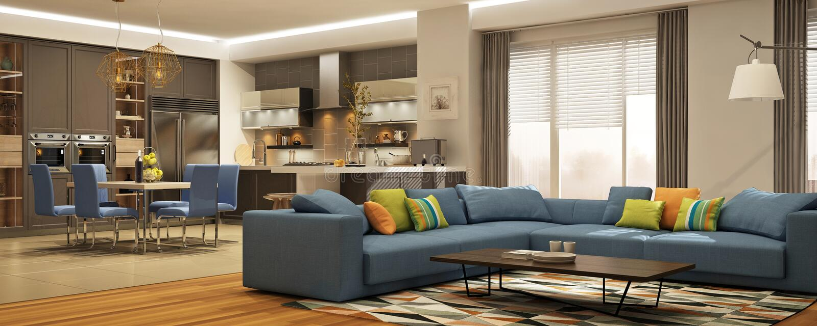 Modern interior of living room united with kitchen in scandinavian style stock photography