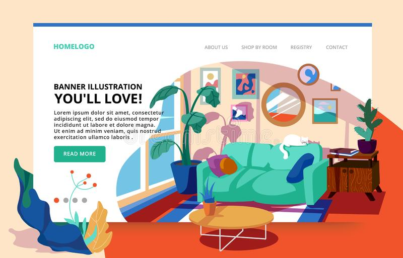 Interior of the living room with plants. Living room site banner. Home space design. Interior illustration for furniture website. Interior of the living room royalty free illustration