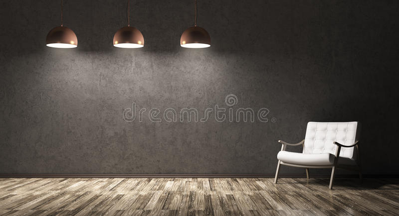 Interior of living room with recliner chair and three lamps. Interior of living room with recliner chair, wooden floor, three lamps over concrete wall 3d vector illustration