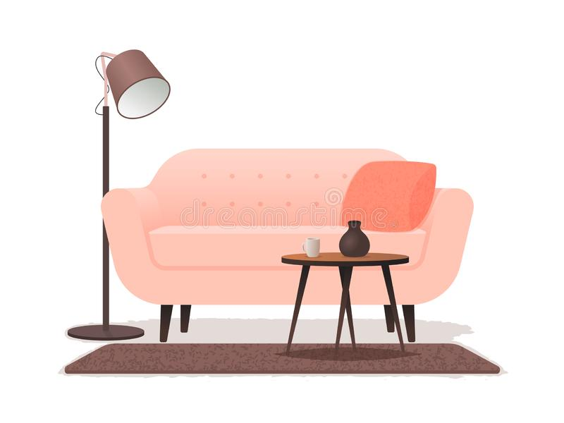 Interior living room with a sofa, a coffee table, a floor lamp and a carpet on a white background stock illustration
