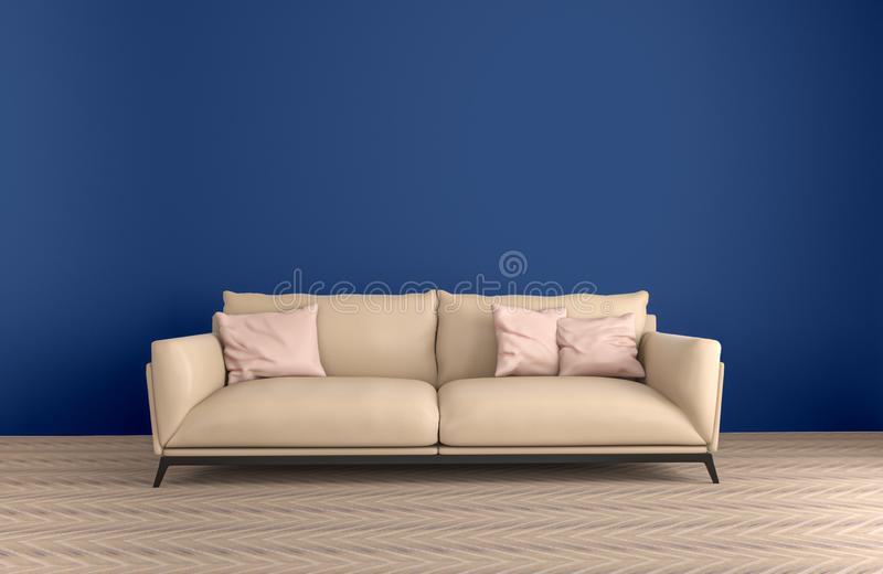 Interior of living room ,Ultraviolet home decor concept ,purple sofa and pillow ,3d render royalty free illustration