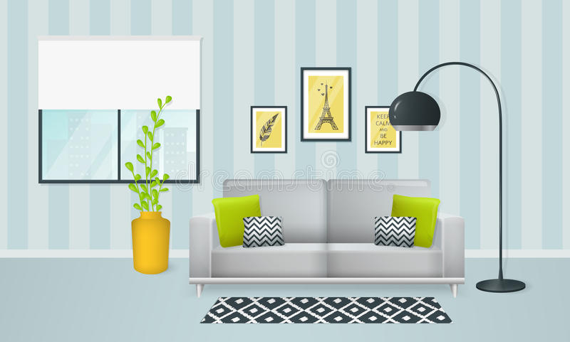 Interior of the living room. Vector banner. royalty free illustration