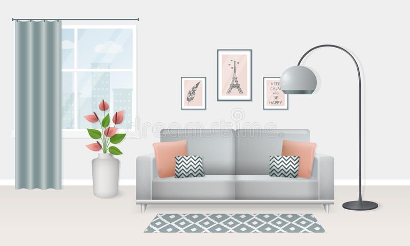 Interior Of The Living Room. Vector Banner. Stock Vector ...