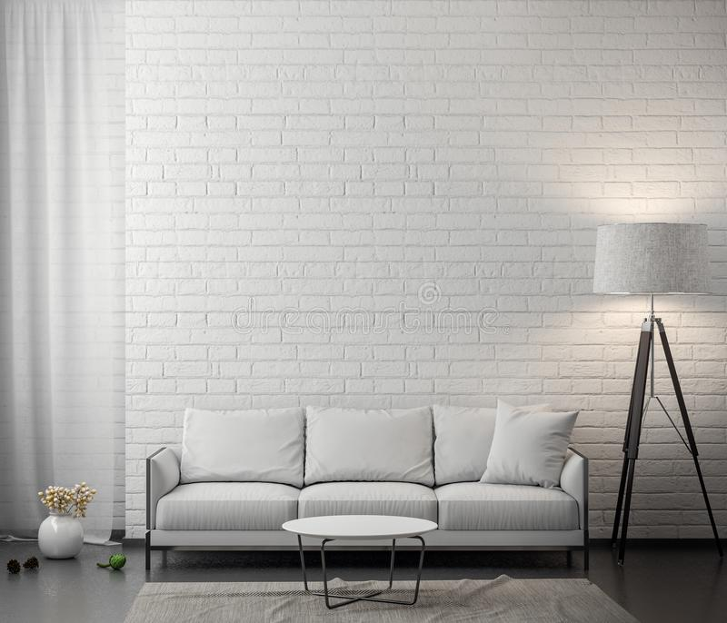 Interior of living room with white brick wall, 3D Rendering royalty free stock photography